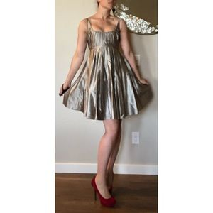 Zac Posen Silk Silver Pleated Baby Doll Dress SZ 6